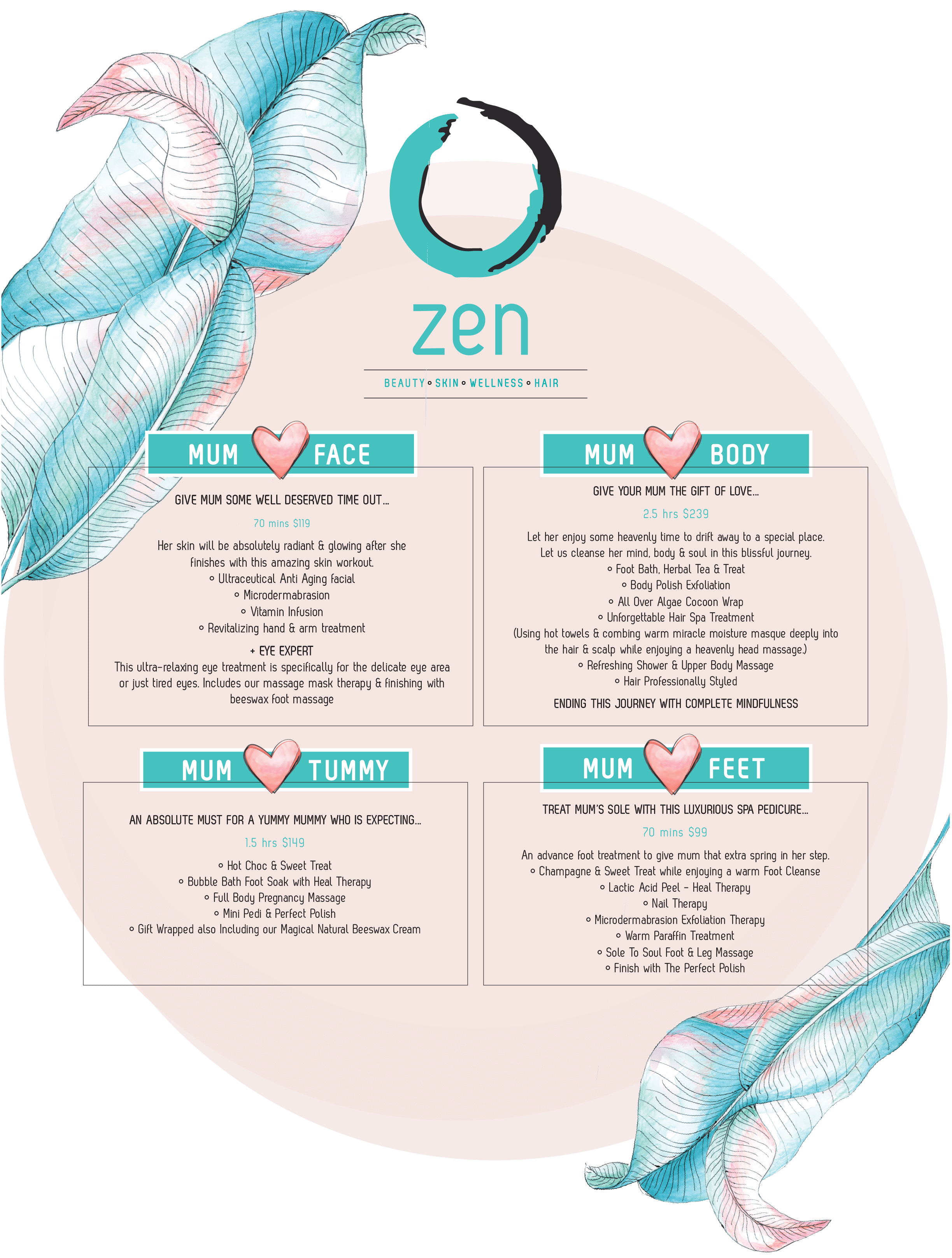 Zen Day Spa Mothers Day Menu Poster 2017-2018
